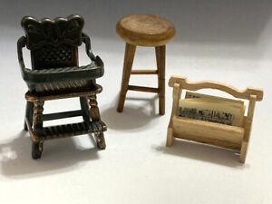 '77 Durham Dollhouse Miniature Metal HIGH CHAIR Model #41+Stool & Mag/New Rack