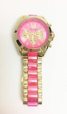 NEW SKY MARINE GOLD+PINK 2 TONE,ROMAN NUMERALS,PINK DIAL,LINK BRACELET WATCH