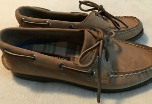 Sperry Top Sider Womens Size 6 1/2 Sahara Boat Deck Shoes Tan Leather 2 Eyed