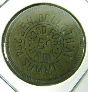 1900-1910 Len Pelloth Saloon, Jersey City, NJ 5 Cent Drink Trade 1 Inch Token