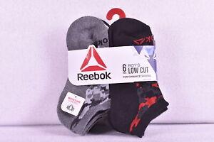 Youth Boy's 6-Pair Reebok Low Cut Performance Socks Black/Grey/White Choose SIze