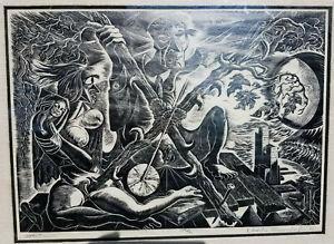 Charles Surendorf Impact 1963 linoleum engraving woodcut modernist art