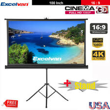 """Portable 100"""" Projector 16:9 Projection Screen Pull Up Matte White+ Tripod Stand"""