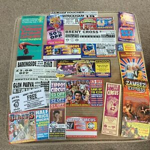 20 CIRCUS FLYERS EVENTS TICKETS VOUCHERS chinese zippo hoxie santus smarts