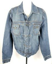 J. Crew Denim Blue Jean Jacket Trucker Style L Cotton Pockets