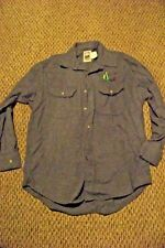 mens keystone casual by key soft blue button front long sleeve shirt size m/l
