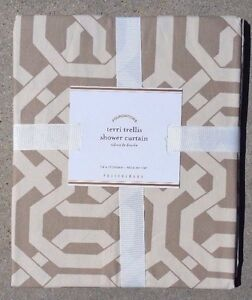 POTTERY BARN ~ TERRI TRELLIS SHOWER CURTAIN NEUTRAL ~ NEW with TAGS