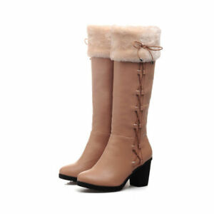 Casual Block Heel Lace Up Women Shoes Winter Warm Faux Suede Knee High Snow Boot