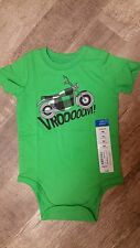 Okie Dokie Motorcycle Vroom Green Bodysuit Romper 1 Piece Baby Boy 9 Months
