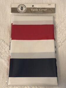 """State Of Texas Table Cover Plastic 52"""" x 70"""" Red/White/Blue Patriotic TEXAS Word"""