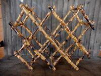 Vintage bamboo wine rack burnt mid century modern MCM Counter Top Mad Men