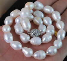 "Natural 10-11MM Genuine white Freshwater cultured Baroque pearl necklace 18"" AA"