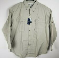 Hook and Tackle Mens Beige Long Sleeve XXL Button Up Fishing Shirt NWT