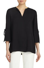 Lafayette 148 New York Sela Silk Drawstring-Sleeve Blouse Top MSRP $448