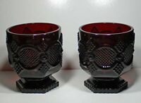 Avon 1876 CAPE COD  Collection- Sandwich Glass- Footed Glass Set-Ruby Red
