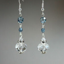 Blue crystals vintage silver long drop dangle earrings wedding bridesmaid gift