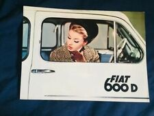 1965 Fiat 600D Sedan USA Market Original Brochure Prospekt