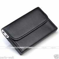 Mens Luxury Black Pocket Leather Business ID Credit Card Holder Case Wallet