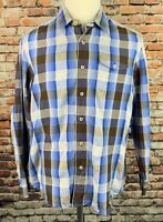 Tommy Bahama Mens L Modern Fit Silk Blend Button Front Shirt LS Blue Plaid
