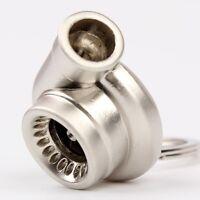 Hot Spinning Turbo Turbine Keychain Keyring Key Chain Ring Keyfob Polish Silver