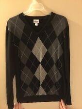 Men's Black Argyle Long Sleeve Sweater Size L