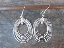 .925 Silver Overlay Hoops Earrings by Artesanas Campesinas in Mexico  NEW er010
