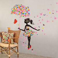 Bedroom Wall Stickers Art Room TV Background Removable Decals Umbrella Girl