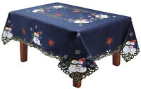 Holiday Christmas Snowman Snowflake Poinsettia Tablecloth With Napkins BLUE Gold