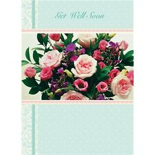 Get Well Soon card pink rose bouquet flowers - hope you feel better soon