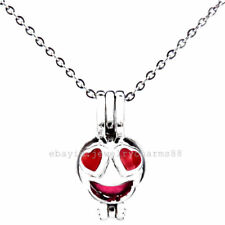 K469 Silver 22mm Enamel Face Heart Anthomaniac Beads Cage Stainless Necklace