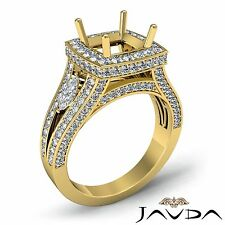 Cushion Shape Diamond Semi Mount Engagement 14k Yellow Gold Halo Pave Ring 1.7Ct