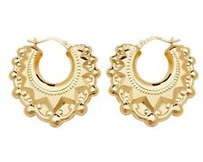 9ct Gold on Silver Large Victorian Gypsy Spiked Creole Hoop Earrings
