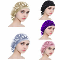 100% Mulberry Silk Sleeping Hat Lady Hair Care Chemo Wrap Satin Bonnet Night Cap