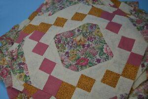 """30 12"""" cotton Quilt Blocks florals pink/gold/cream"""