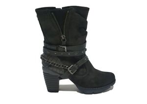 Womens Mustang Multi Finish Buckle Grey Ankle Boot