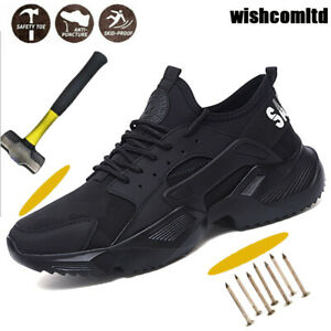 STEEL TOE CAP MENS SAFETY TRAINERS WOMEN WORK BOOT HIKING SHOES SIZE [UK 2.5-12]