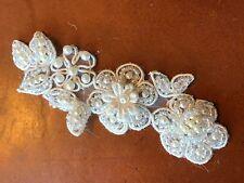 """APPLIQUE Soutache Beads 1.5x4"""" PEARLS FLOWERS LEAVES BRIDAL Quincenera WHITE 1pc"""