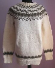 VTG Ladies Unbranded Cream/Brown Acrylic Mix Icelandic Style Jumper Size L (y15)