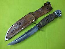 VINTAGE LION HEAD SOLINGEN GERMAN LEE E OLSEN HUNTING FIGHTING PIC KNIFE STAG
