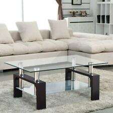 Popular Rectangular Tempered Glass Coffee Table w/Shelf Living Room Furniture US