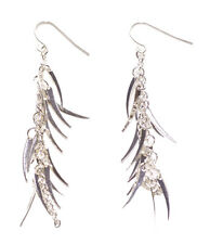 Exuberant Chrome Chain & Feather Dangler/easy Hook on Earrings.(Zx138)