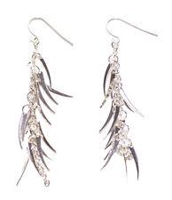 Exuberant Chrome Chain & Feather Dangler/easy Hook on Earrings.(Zx138)
