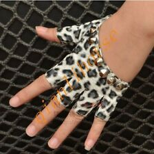 New Motorcycle Womens Leather Rivets Studded Punk Fingerless Dancing Jazz Gloves