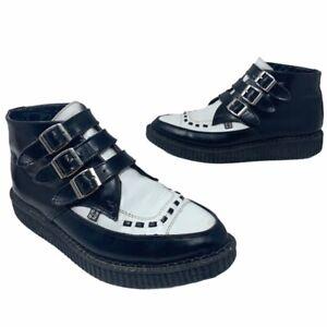 T.u.k. Unisex Two Toned Platform Creeper Boots Black Leather Buckle M 7 W 9