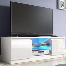 Modern TV Cabinet Matt White Storage Cabinet Blue LED Light Media Unit Stand New