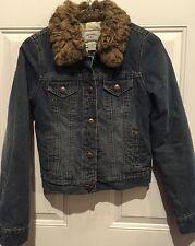 Abercrombie Fitch Medium Grunge fur collar lined Denim Jean Jacket Large Kids
