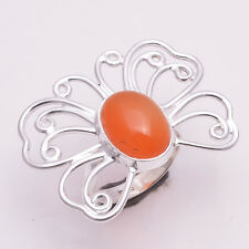 925 Sterling Silver Ring US Size 6, Natural Carnelian Handmade Jewelry CR1994