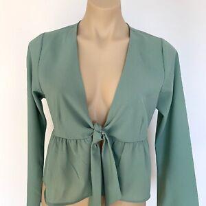 Mooloola TOP JACKET Size 10 Sage Green Peplum tie front Long sleeves Women's