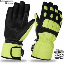 Mens Motorbike Motorcycle Gloves Padded Knuckle Leather Palm Water Proof Gloves