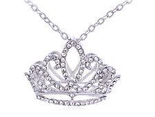 Lady Princess Tiara Girl Birthday Crown Crystal Rhinestone Pendant Necklace